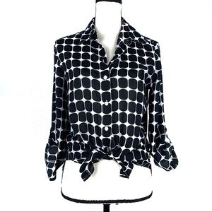 Foxcroft Black & White Button Down Shape Fit Top